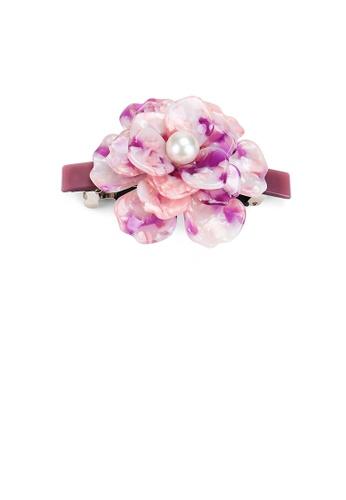Glamorousky silver Fashion and Elegant Light Pink Rose Imitation Pearl Hair Slide D8B16AC4ACF48BGS_1