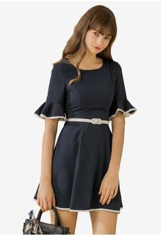 43a3fa36913c Eyescream blue Contrast Trim Belted Flare Dress 127BFAA3201ACEGS 1