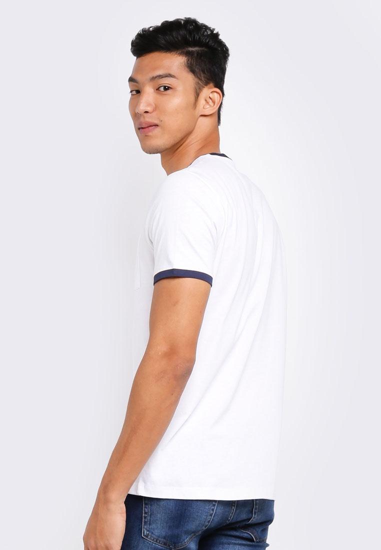 MANGO Logo Shirt T White Pocket Man FAAx0Hqw