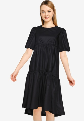 MISSGUIDED black Petite Woven Smock Dress 2C1F0AAE6909BDGS_1