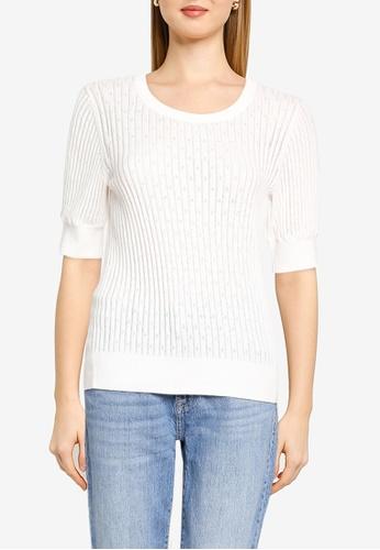 GAP white Elbow Sleeve Pointelle Sweater 581DBAA7D05684GS_1