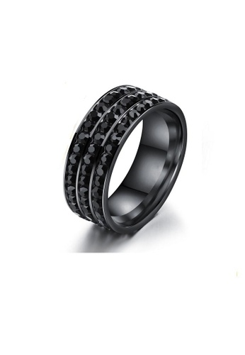 ADORA Stainless Steel Zircon Black Ring AD365AC2VVGKHK_1