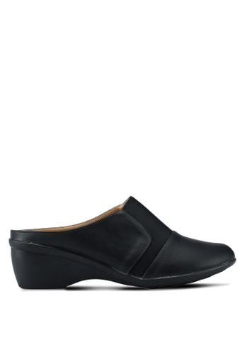 Noveni 黑色 舒適懶人楔型鞋 468E9SHFA15D34GS_1