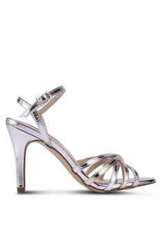 2311c0e3b18 Nose. Satin Chrome Strappy Heels