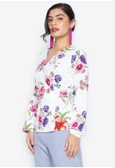 41a1e7fb7 Dorothy Perkins white Floral Button Hem Long Sleeve Blouse  6BDBFAA7AB89F7GS 1