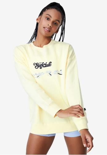 Cotton On Body yellow Lifestyle Long Sleeve Graphic Sweatshirt D65BEAAB0EA0DDGS_1