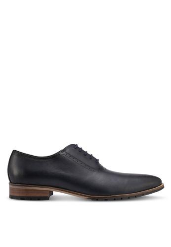 ZALORA navy Calf Leather Lace Up Dress Shoes C46C2SH9C3AE0DGS_1