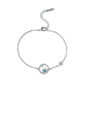 Glamorousky white Elegant Snowflake Circle Bracelet with Austrian Element Crystal 3A60FACD85EEF1GS_1