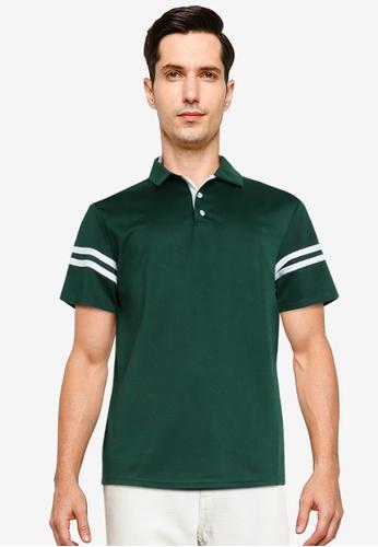 ZALORA BASICS green Contrast Stripe Polo Shirt BD4C9AA0643CEDGS_1