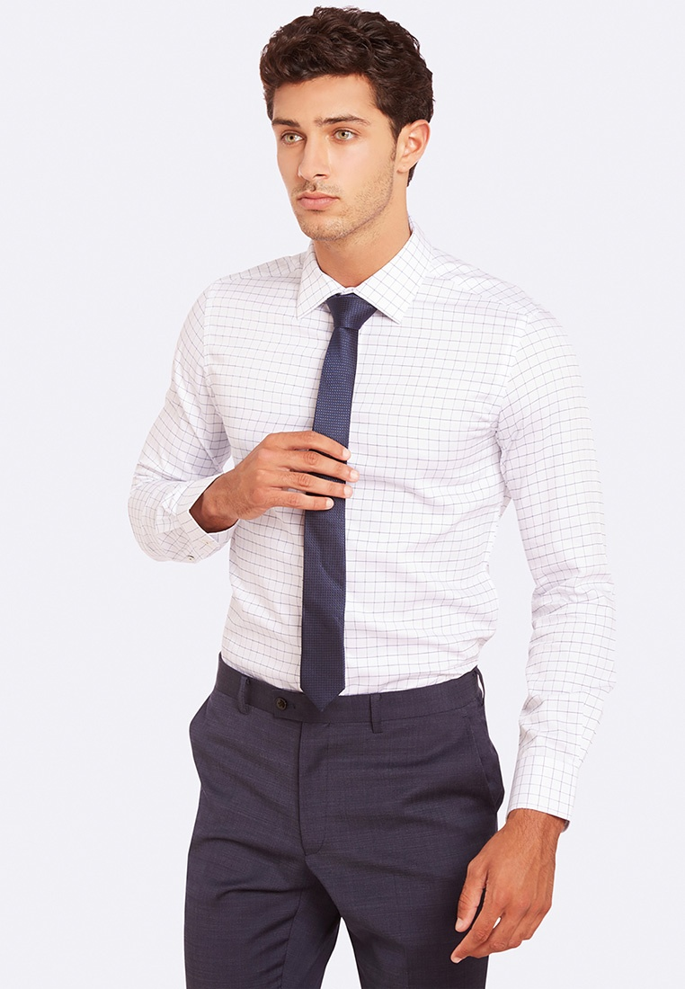 Blue Oxford Checked White Shirt Beckton ZFwT1R