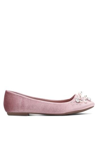 VINCCI pink Pearly Velvet Ballerinas VI831SH0S52UMY_1