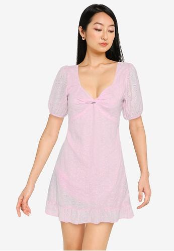 ZALORA BASICS pink Knot Front Eyelet Dress A58CFAA9A22ECAGS_1