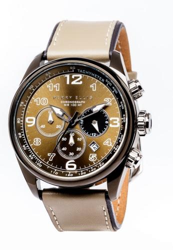 PERRY ELLIS brown Perry Ellis GT Men Chronograph 44mm Quartz Watch 01006-01 02539AC1D4733FGS_1