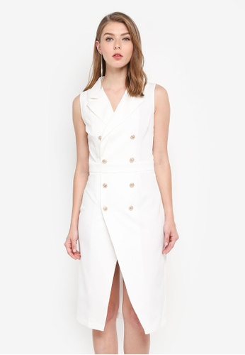 MISSGUIDED white Double Breasted Blazer Midi Dress 7CE9CAA9DF00F7GS_1