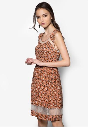 透膚拼接印花洋裝, 服飾, 夏zalora 內衣日洋裝
