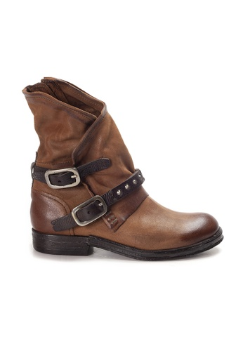 Shu Talk brown A.S.98 Italian Leather Buckle Wrap Boots with Studs ACBD7SH2CB5C9CGS_1