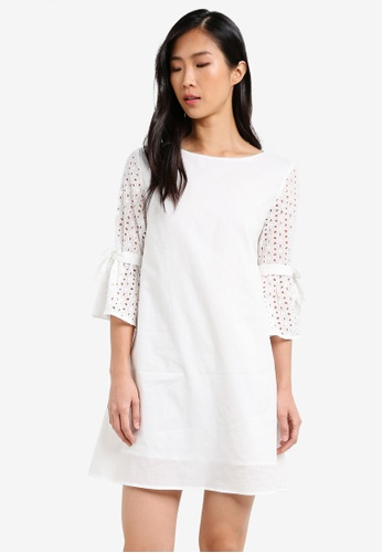 ZALORA white Tie Sleeves Dress C86F2AA0520055GS_1