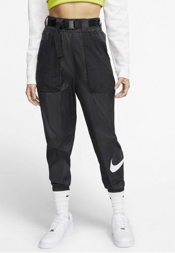 Nike black and grey Sportswear Women's Woven Swoosh Pants BC192AA1C9171CGS_1
