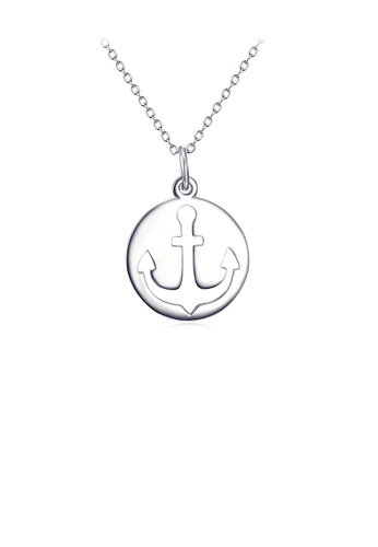 Glamorousky silver 925 Sterling Silver Fashion Simple Anchor Geometric Round Pendant with Necklace 351B5AC833275CGS_1