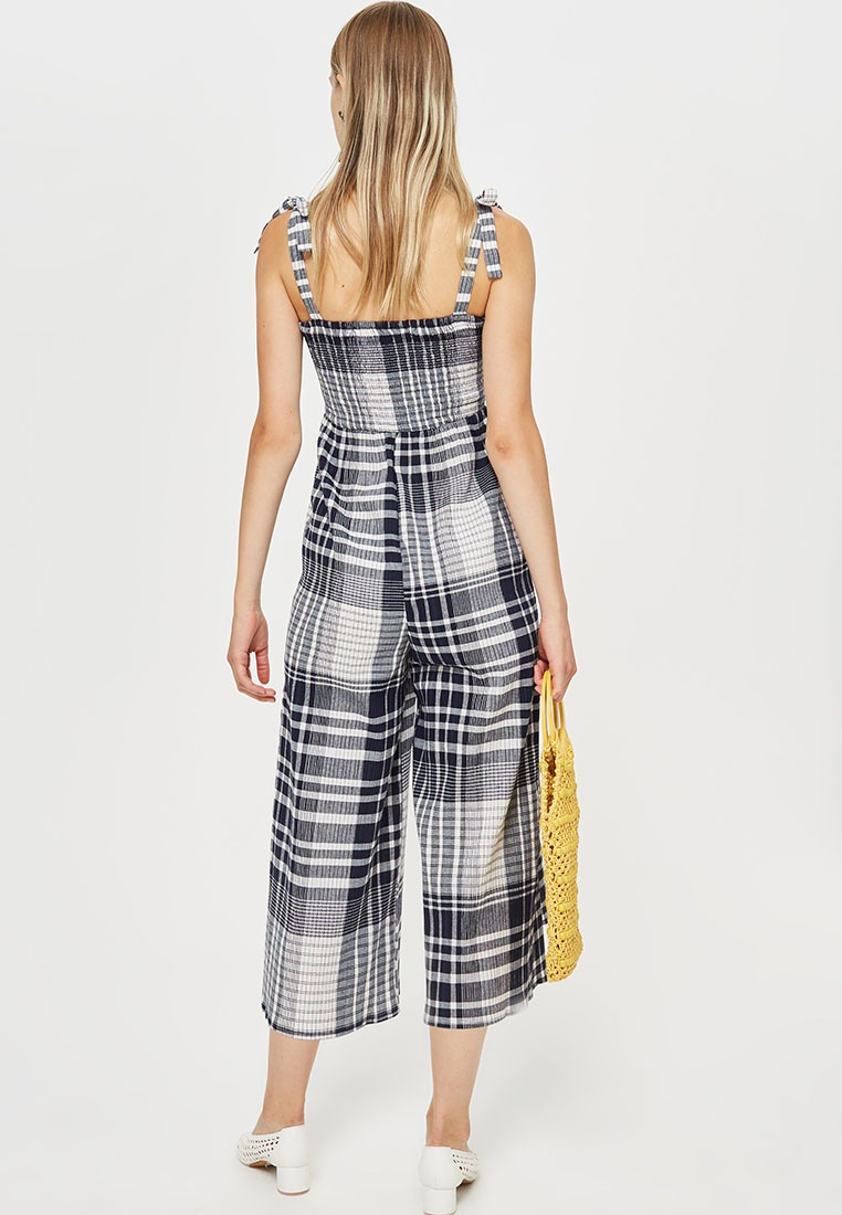 59a3f262b469 ... Jumpsuit Shirred TOPSHOP Blue Check Check Shirred Jumpsuit TOPSHOP  WCTxn ...