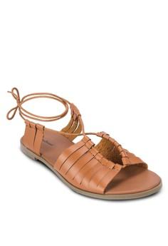 Multi Weave Flat Lace Up Sandals