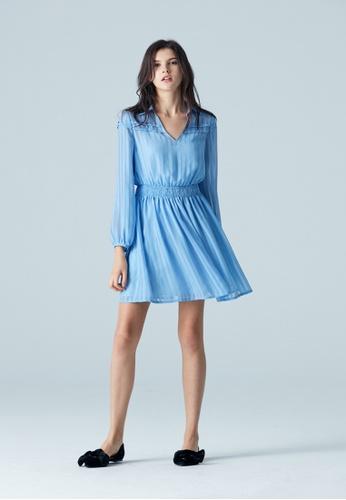 iROO blue Textured Collar Dress 81401AA3D77561GS_1