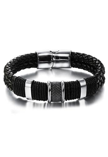 YOUNIQ black YOUNIQ Titanium Steel Indie Weave Genuine Leather Bracelet for Men (Black) YO999AC71LSEMY_1