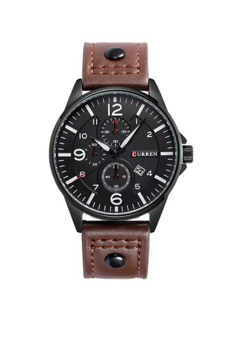curren brown Curren 8164 Men's Military Sports Date Display Leather Strap Classic Watch (Brown) CU537AC99TUUMY_1