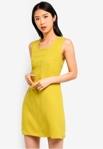 ZALORA BASICS yellow Basic Sleeveless Straight Dress F3402AA67FB12DGS_1