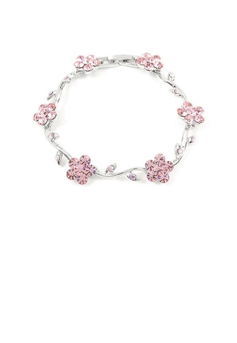 Glamorousky pink Pink Flower Bracelet with Pink Austrian Element Crystals 9652BAC812B373GS_1