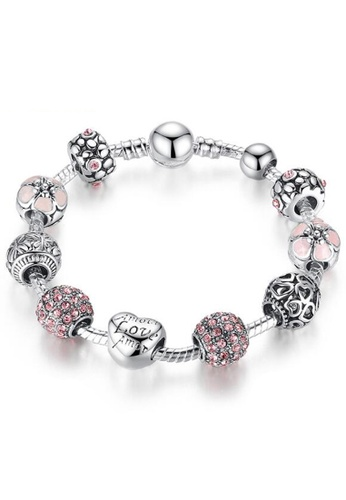 YOUNIQ silver YOUNIQ Charm Bracelet with Love Crystal Ball for Her Gift PA1455 (Silver) 9A610AC3EF05F5GS_1