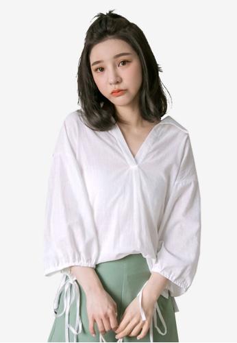 Tokichoi white Collared V-neck Ribbon Top 1CDC9AA369FB77GS_1