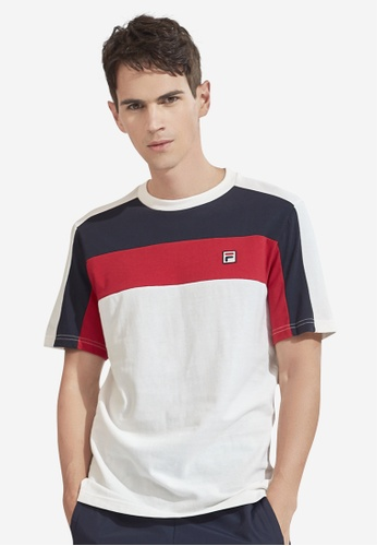 FILA white Korea Collection Unisex Colour Blocks Cotton T-shirt ACE86AA3451F72GS_1