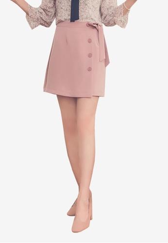 Yoco pink Button Up Tie Belt Skirt 12281AA0622182GS_1