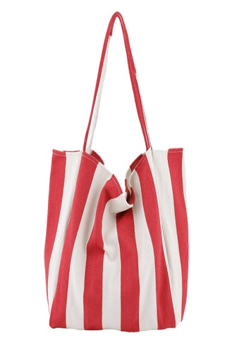 Sunnydaysweety red Simple Small Fresh Big Striped Canvas Bag Ca21051314RD 24550AC20A6D6AGS_1