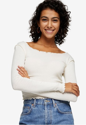 TOPSHOP white White Long Sleeve Lettuce Top 13269AAFA5BE3DGS_1