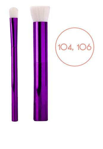 Ellana Mineral Cosmetics purple Iris Flat-Top Kabuki Brush (104) And Eyeshadow Brush (106) Duo E1C0CBECBF69F8GS_1