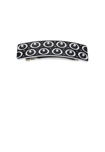 Glamorousky black Fashion Simple Circle Pattern Black Geometric Hair Slide with Imitation Pearl and Cubic Zirconia B472BAC5F055D5GS_1