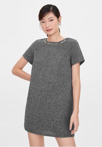 Pomelo black Mini Tweed Pearl Accent Dress - Black FF114AAD9347B2GS_1