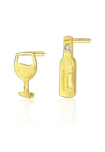 SUNRAIS gold High quality Silver S925 gold simple design earrings 82179AC6EEA127GS_1