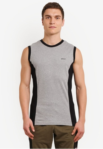 2GO grey Duo Toned Sports Performance Vest 2G729AA0S60AMY_1