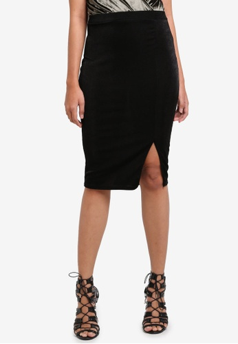 MISSGUIDED black Slinky Midi Skirt 3CFADAA047D3DAGS_1