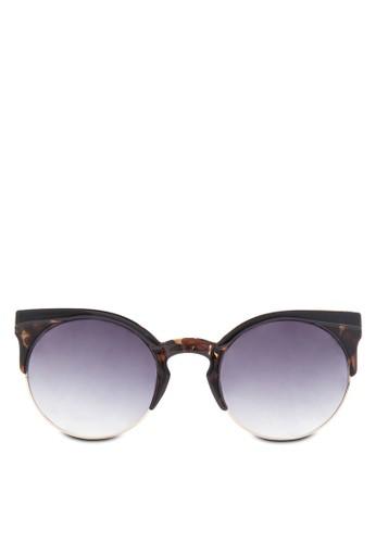 Lexi Clubmaster 豹紋半框太陽眼鏡, 飾品配esprit地址件, 貓眼框