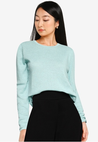 JACQUELINE DE YONG green and blue Barbarini Life Long Sleeves Knit Sweater AC62BAA6B8D6DCGS_1