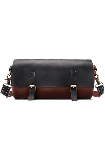 Lara black and brown Flap Buckle Cross Body Drum Bag - Black FA96AACF524822GS_1