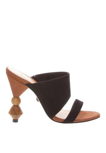 SCHUTZ black Black Nubuck Wood Heel Mule - S/TOSCA [BLACK] 774D2SH377F5D4GS_1
