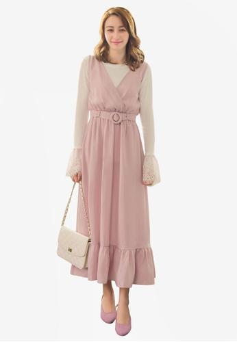YOCO pink Ruffle Hem Belt Detail Dress BFC4FAAC4BA41AGS_1