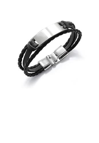 Glamorousky silver Fashion Elegant 316L Stainless Steel Geometric Rectangular Black Leather Bracelet A4B25ACA5A3B6EGS_1