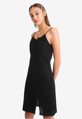 PIMKIE black Split Hem Thin Strap Dress 412B9AA73996D2GS_1