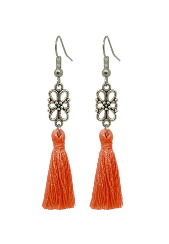 Fur Nyce orange Minimalist Tassel Drop Earring 673DEACCB50192GS_1